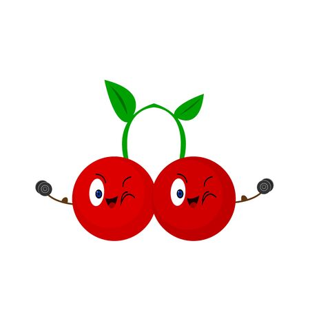 two cherries cartoon characters are smiling and winking on a white background fruits with dumbbells in their hands and well-muscled activity and sport concept