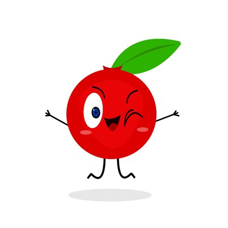 cranberry cute cartoon character winks and jumps on a white background food and vitamin concept bright red plant