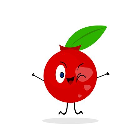 Bright cranberry with patterns of shiny spots actively jumps and winks on a white background red berry with a cute smile and green leaf concept of vitamins and food.