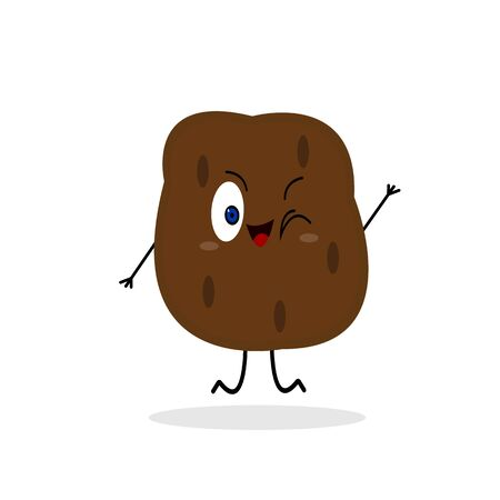 funny potato cute cartoon character winks and smiles on a white background vegetable actively jumping concept of agriculture  イラスト・ベクター素材