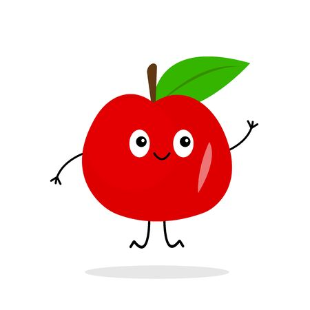 friendly red apple cartoon character smiling and jumping on a white background fruit and food concept