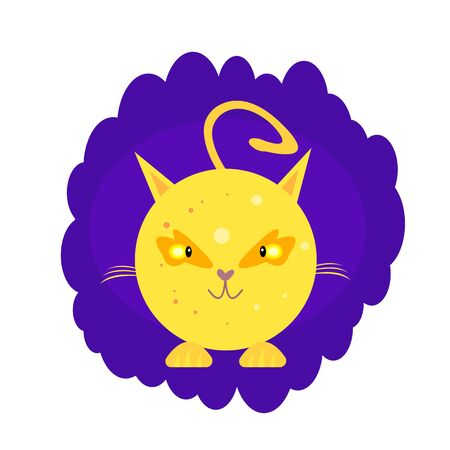 moon in the shape of a cute cat with shining orange eyes and a rounded tail cartoon character on a background of night purple sky the concept of pets and space