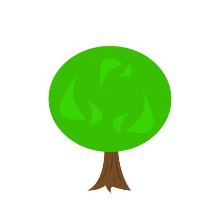 tree with bright patterns on a green top concept of nature and environment logo for design on a white background