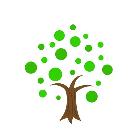 natural tree logo with brown trunk and round green leaf patterns object on a white background summer and spring concept Illusztráció