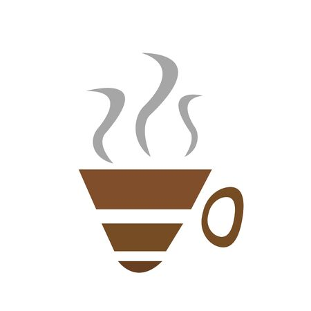 logo brown coffee cup and steaming gray steam symbol of a hot refreshing drink object on a white background