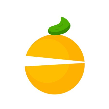 Orange tropical fruit logo for design with a slit and a bright round spot object on a white background concept of food and vitamins
