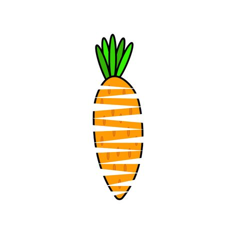 carrot with cuts natural logo on a white background concept of vegetables and agriculture