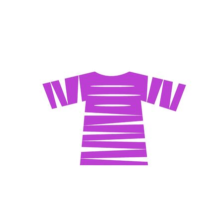 purple slit T-shirt logo on a white background clothing and industry concept