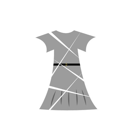 gray female dress with a black belt logo with cuts on a white background fashion and clothing concept