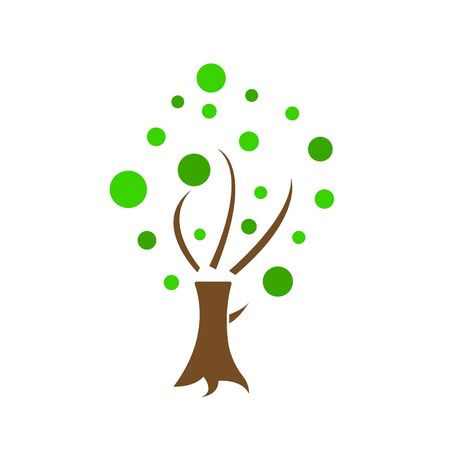 Tree logo with round green leaves and divided parts object on a white background spring and summer concept.