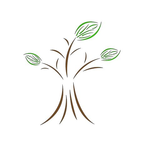 natural tree logo consisting of enchanting patterns of brown and green irregular lines object on a white background environment and ecology concept