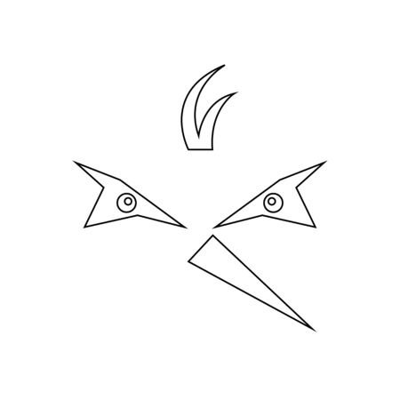 Muzzle of a bird with a triangular pointed beak sketch on a white background animal concept