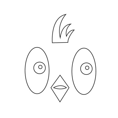 sketch of the muzzle of a cute bird with a crest on a white background animal and nature concept
