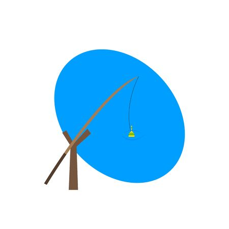 Fishing rod on a wooden holder a bright float in a blue lake sport and leisure concept logo for design Vectores