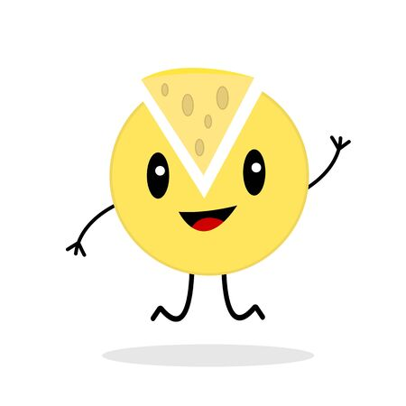 cheese head with cut off triangular piece cartoon character jumping on a white background concept of a popular dairy product and food  イラスト・ベクター素材