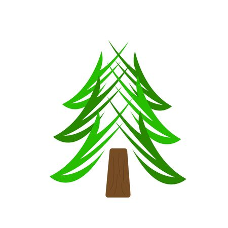 spruce natural logo Forest tree beautiful patterns green branches and brown trunk object on a white background concept of nature and environment Ilustrace