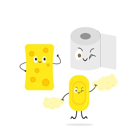 Toiletries soap paper and sponge concept of cleanliness and hygiene objects on a white background