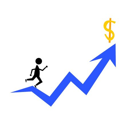 running up the career ladder to money concept of business and success object on a white background