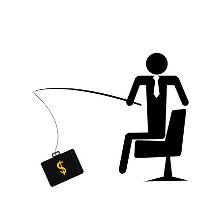 businessman in a tie sits in a working chair and catches profit on a fishing rod concept of income and finance icon on a white background