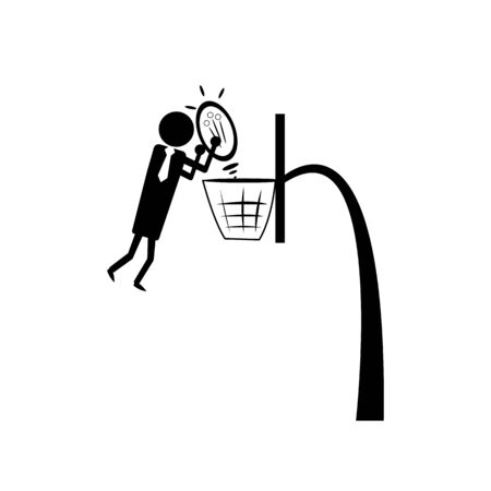 businessman in a tie throws a light bulb instead of a ball into a basketball basket idea symbol concept of determination and development