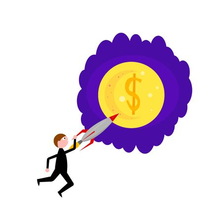 businessman in a black suit holds on to a rocket that flies to the moon with a dollar icon. concept of success and career growth