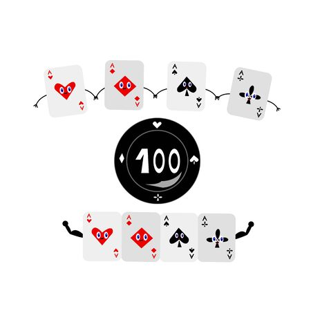 poker chip and square of aces funny cartoon characters combined into a strong combination casino and board games concept