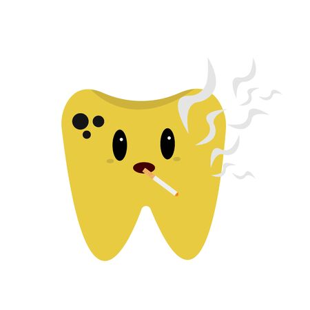 sick darkened tooth cartoon character with a cigarette in his mouth concept of bad habits and health object on a white background