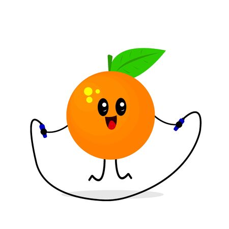orange cartoon character jumping rope ripe and fresh tropical fruit concept of activity and healthy lifestyle