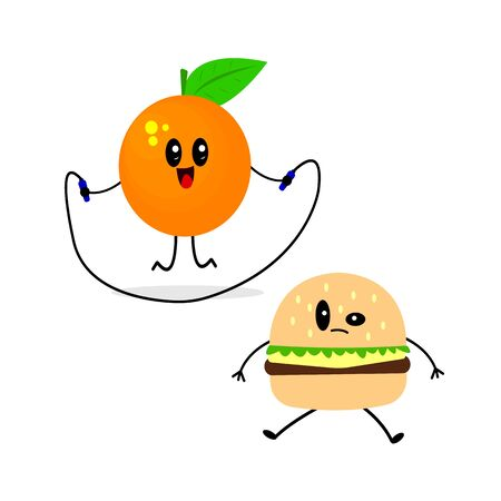 active orange jumps on a skipping rope nearby sits disgruntled burger concept of healthy food and sport object on white background Illustration