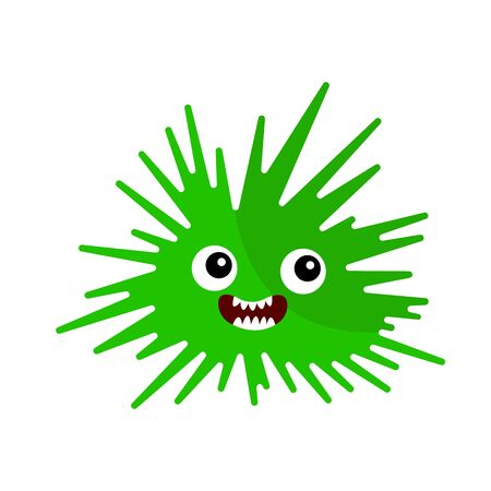 Green microorganism with big round eyes and open mouth concept of viruses and aliens object on a white background