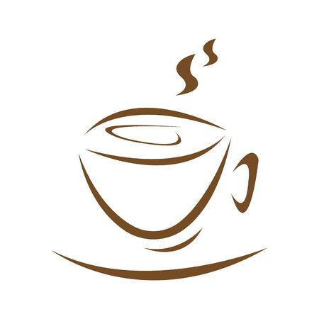 Cup of invigorating drink and hot steam coffee concept logo for design on a white background Ilustração