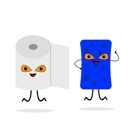toilet paper and dishwashing sponge cartoon characters with bright orange eyes jump on a white background concept of cleanliness and hygiene Ilustração
