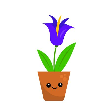 purple flower with a golden middle looks like a bell grows in a pot on a white background cartoon character with a cute smile the concept of home plants and gardening