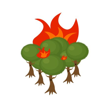 fire in the forest blazing Green treetops concept ecology and nature object on a white background