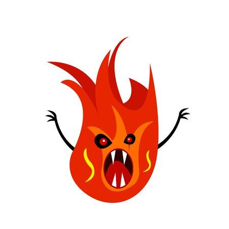 Fire monster with red eyes with open mouth and sharp fangs. The concept of mysticism and fires object on a white background Vector Illustratie