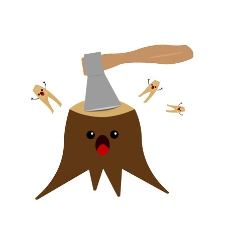 wooden stump screaming from an ax blow scared slivers fly in different directions concept of deforestation and nature protection objects on a white background