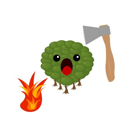 scared forest cartoon character screaming in fear near fire and ax concept of illegal deforestation and fires object on a white background