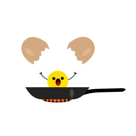 egg yolk fried in a pan cartoon character screaming in fright object on a white background natural food