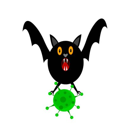 bat holds green virus in its paws concept of infection vectors and harmful bacteria