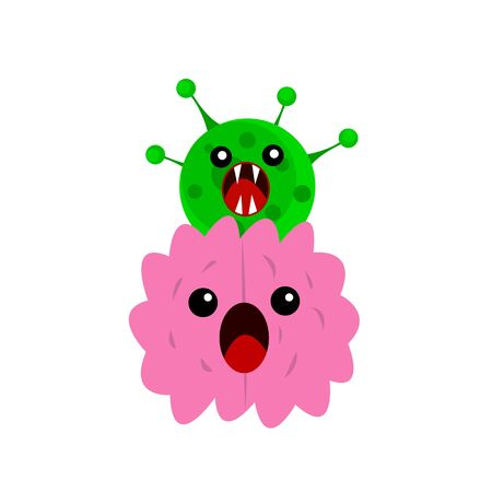 human brain screams with fear over it a green virus with sharp fangs and an open mouth the concept of infection and scary thoughts in quarantine  イラスト・ベクター素材