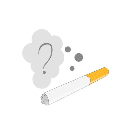 question mark in a gray cloud of smoke over a cigarette concept of drug and addiction object on a white background