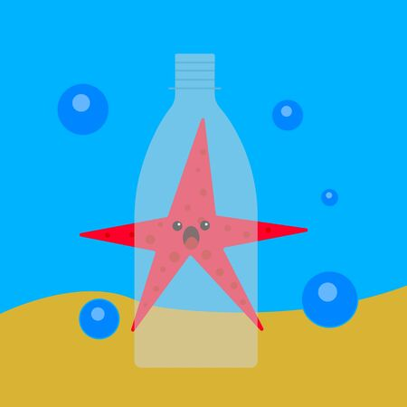 Starfish on a sandy bottom behind a transparent plastic bottle cartoon character with a frightened emotion concept of pollution of the ocean and the environment