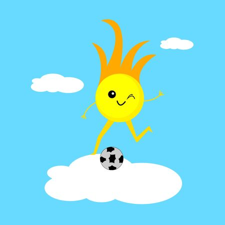 Sun cartoon character getting ready to hit a soccer ball. Concept of outdoor activities and sports symbol of warmth and summer.