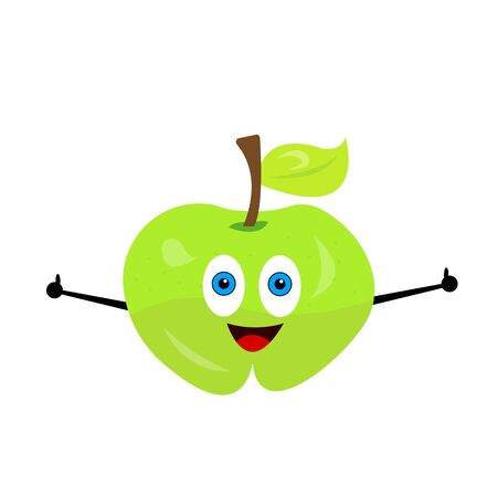 ripe apple cartoon character with blue eyes and a cute smile a thumb on his hand raised up as a gesture of approval fruit and food concept Vectores