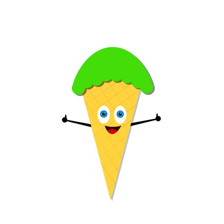 pistachio ice cream cone cartoon character with blue eyes and a cute smile a thumb on his hand raised up as a gesture of approval fruit and food concept Ilustración de vector