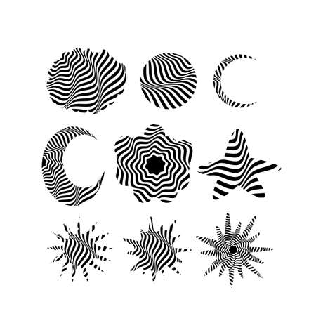 set of natural objects in op art style design and creative concept Vektorgrafik