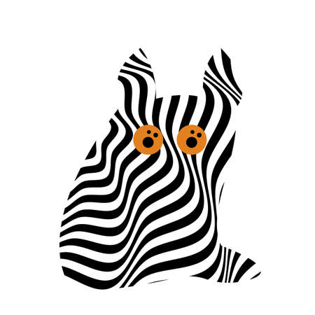 Cat with orange eyes in op art style with black stripes patterns. Animal concept for design Ilustracje wektorowe