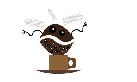 cartoon character of a coffee bean with many eyes makes wavy movements with his hands over a modern design cup standing on a saucer next to a charged battery indicator an invigorating drink concept