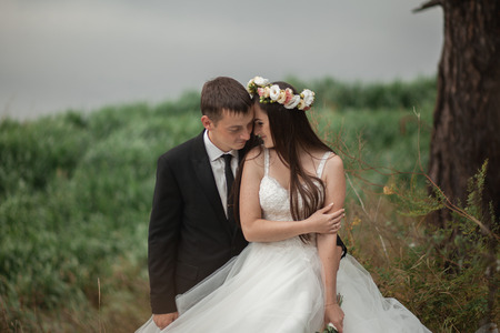 married couples: Elegant beautiful wedding couple posing near lake in park.