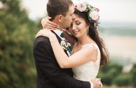newlyweds: Beautiful romantic wedding couple of newlyweds hugging Stock Photo
